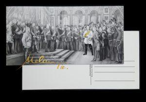 Postkarte 1871 Reichsgründung Otto von Bismarck im Schloss Versailles