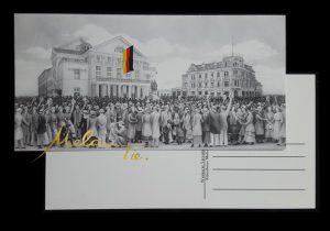 Postkarte 1919 Weimarer Versammlung vor dem Nationaltheater